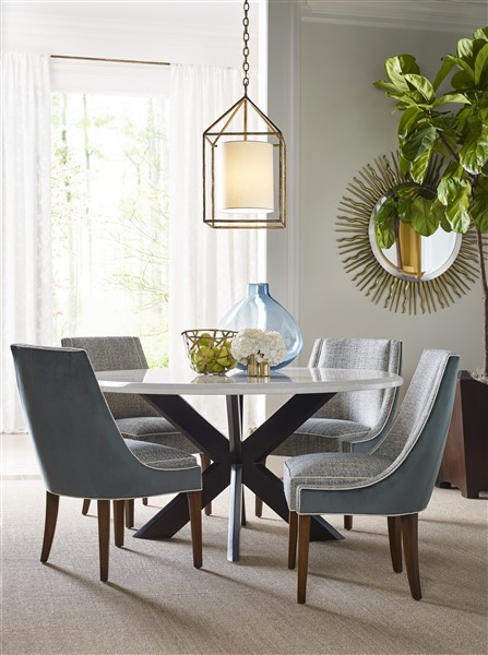 Shown Is Our Hayden Dining Table, Ascot Side Chair, Golden Eye Round  Mirror, Woodside Planter And DC1068 Chandelier.