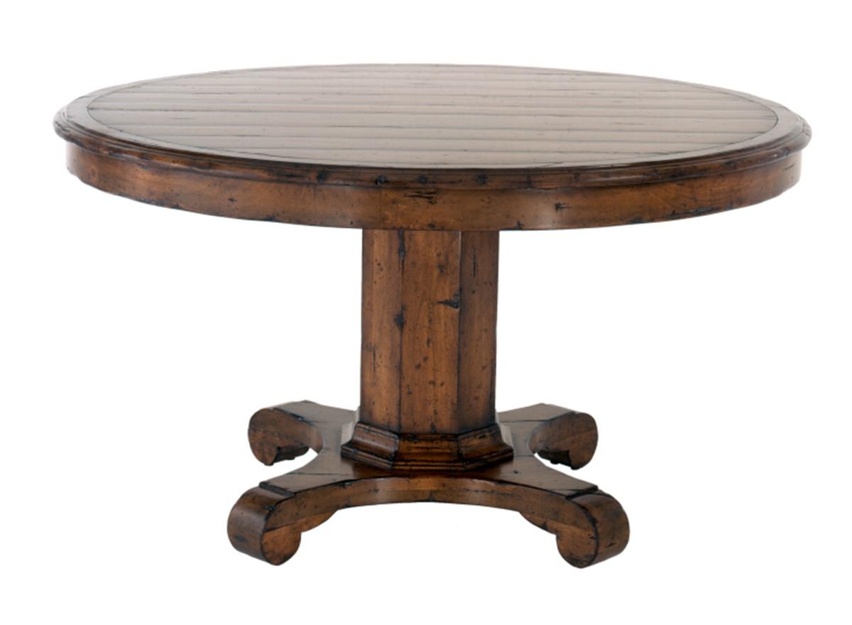 Bon English Round Pedestal Table (54 Dia X 30); As Shown   Top   Inlaid Plank  IP1; Edge   French
