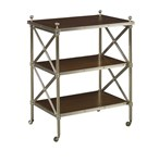 Acacia Brass Three-Tier Side Table